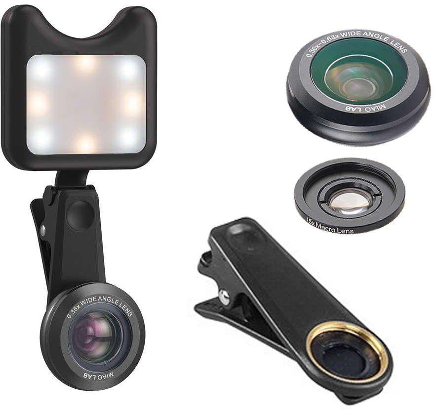Apexel APL-3663FL Obiektyw 0.36X Wide Angle 15X Makro +Lampka LED black