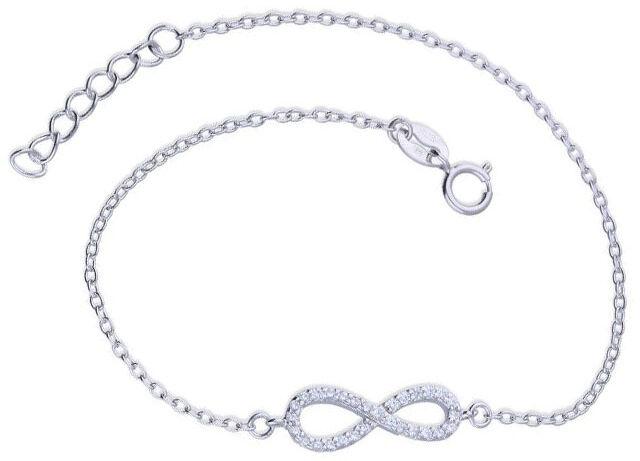 Srebrna bransoletka 925 z nieskończoność z cyrkoniami 1,34g
