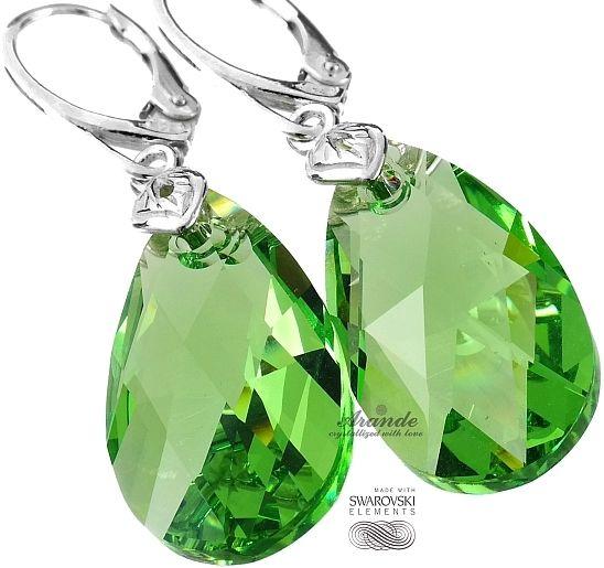 SWAROVSKI piękne zielone kolczyki PERIDOT SREBRO