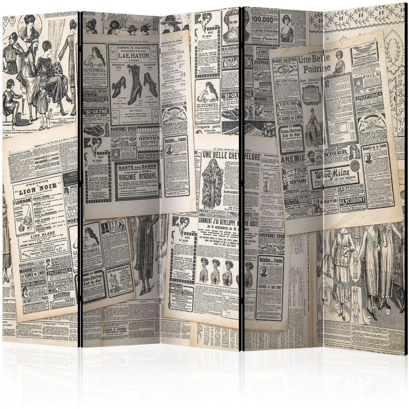Parawan 5-częściowy - vintage newspapers ii [room dividers]