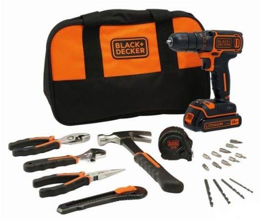 wiertarko-wkrętarka akumulatorowa 18V Black+Decker [BDCDC18HTSA-QW] Li-Ion, 1x1,5Ah z narzędziami ręcznymi i akcesoriami