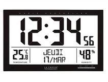 Zegar LCD stacja pogody data sterowany DCF /37x27cm