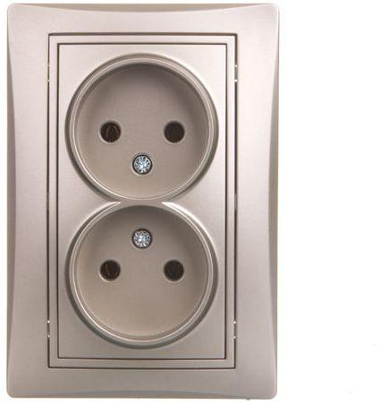 DOMO Gniazdo podwójne bez uziemienia kompletne śrubowe 16A 250V perłowy biały 011280130 24977