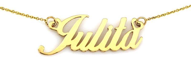 Złoty naszyjnik 585 zawieszka imię Julita 1,94 g