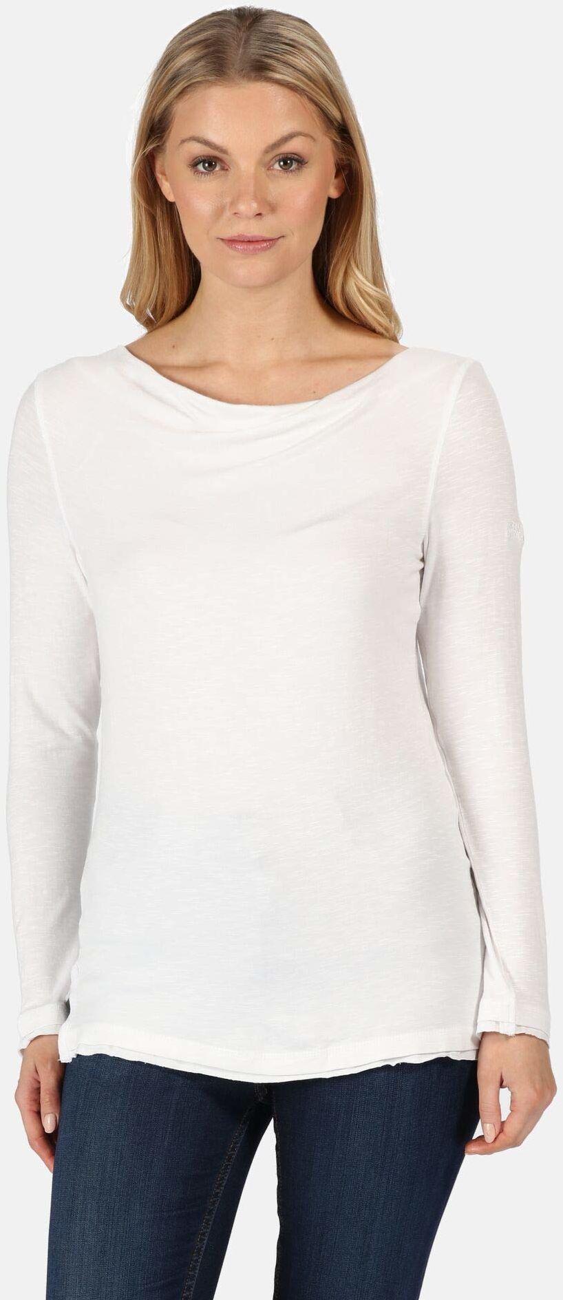 Regatta Damska koszulka z długim rękawem z dekoltem typu kropelka, koszulka polo, kamizelki biały 42