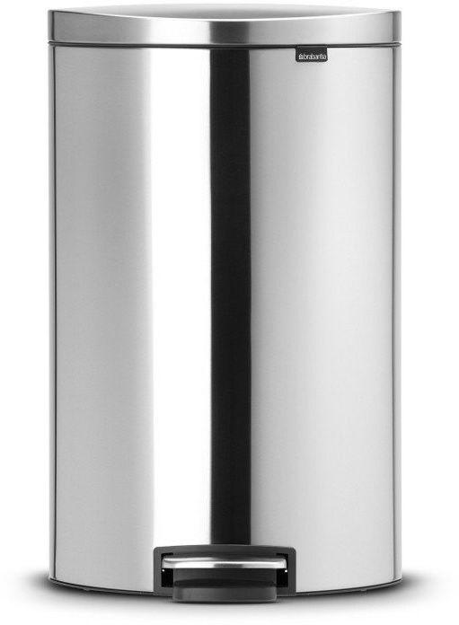 Brabantia - kosz pedałowyflatblack+ silent - wiaderko plastikowe  40l - stal matowa fpp
