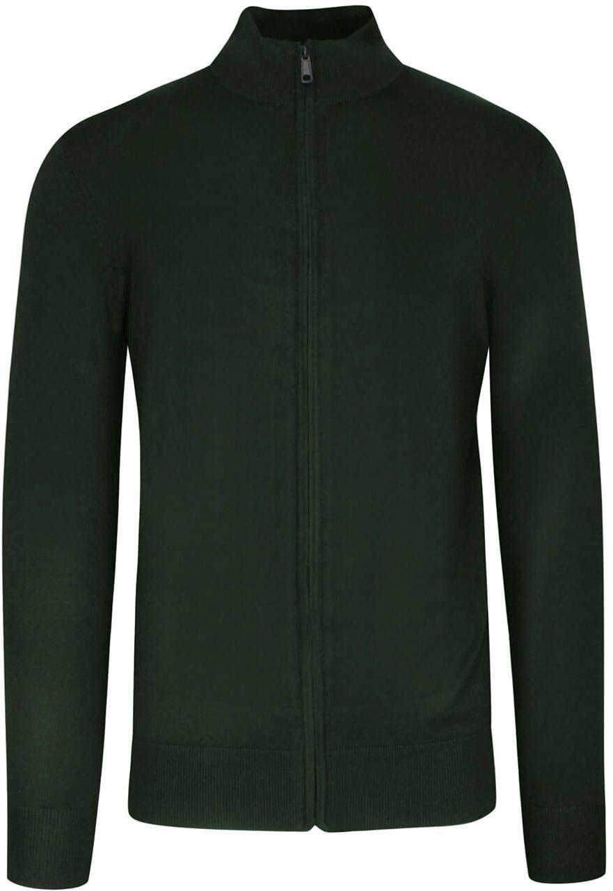 Sweter Zielony, Khaki, ze Stójką, Zapinany na Zamek, Ściągacze, Męski -BRAVE SOUL SWBRSAW21BOXGROVEkhaki