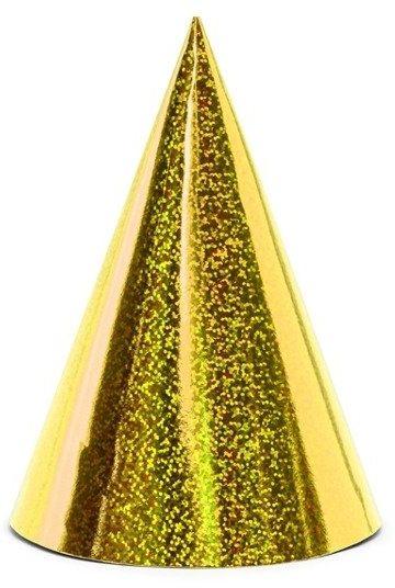 Czapeczki urodzinowe złote 6 sztuk CZAP6-019