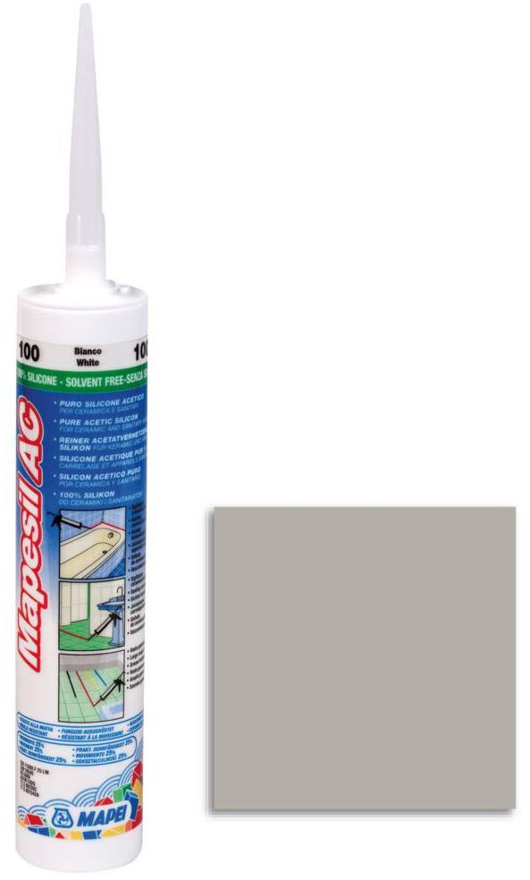 Silikon sanitarny MAPESIL AC 111 310 ml Srebrny MAPEI