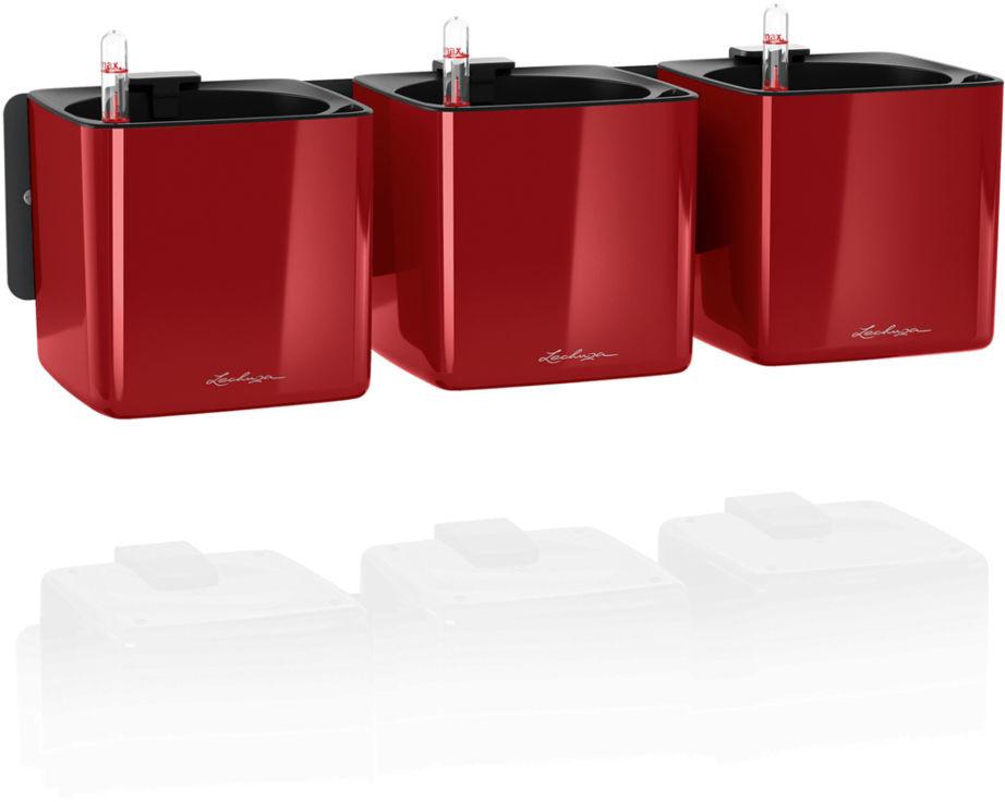 Doniczka ścienna Lechuza CUBE Glossy Home Kit czerwony scarlet połysk