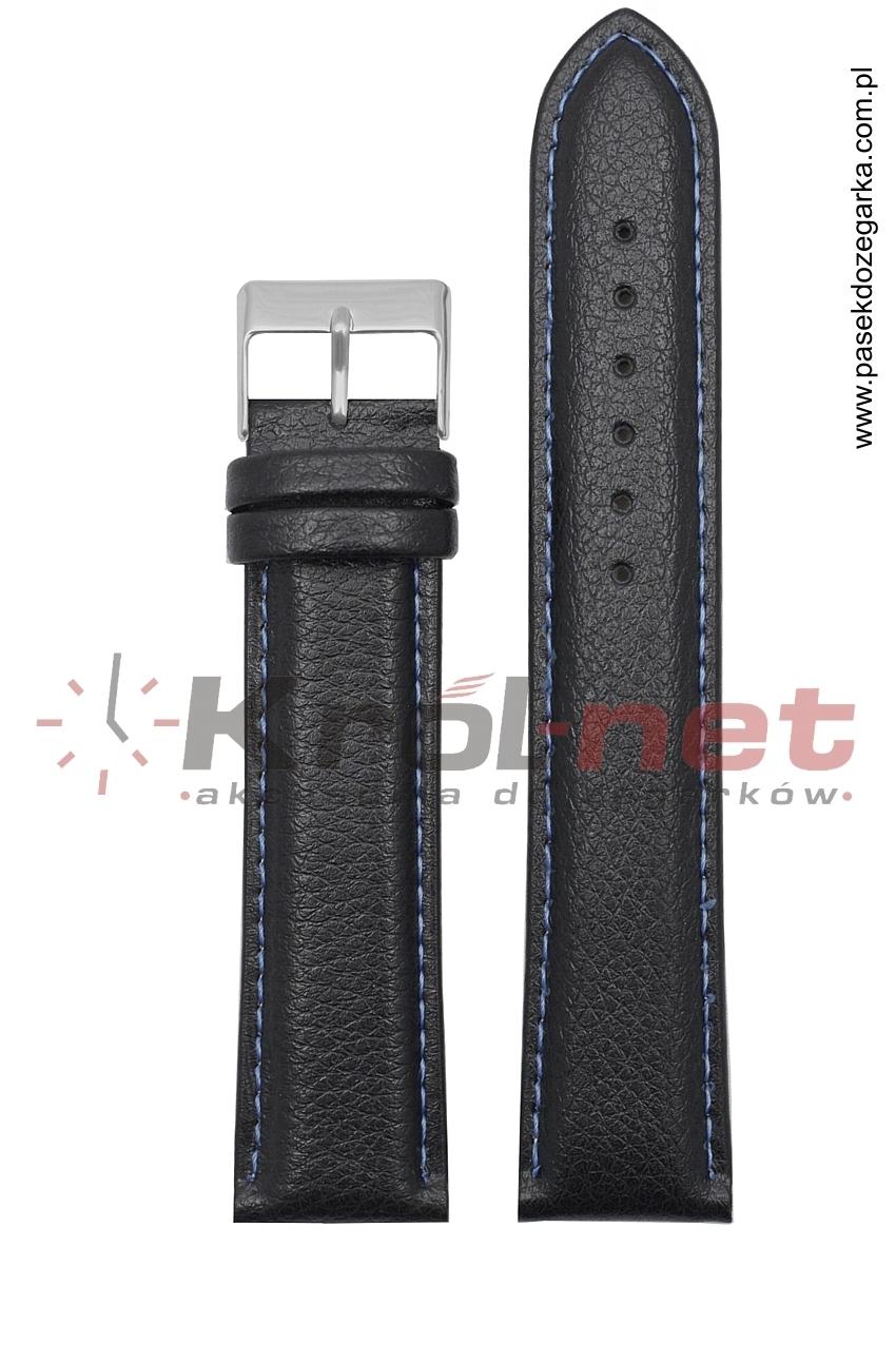Pasek TK123/NIE/22XL - czarny long, niebieskie nici