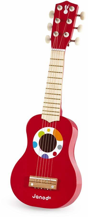 Janod - My First Guitar Confetti - Drewniany instrument muzyczny dla dzieci - zabawka muzyczna - dla dzieci w wieku 3 lat, J07628, wielokolorowy