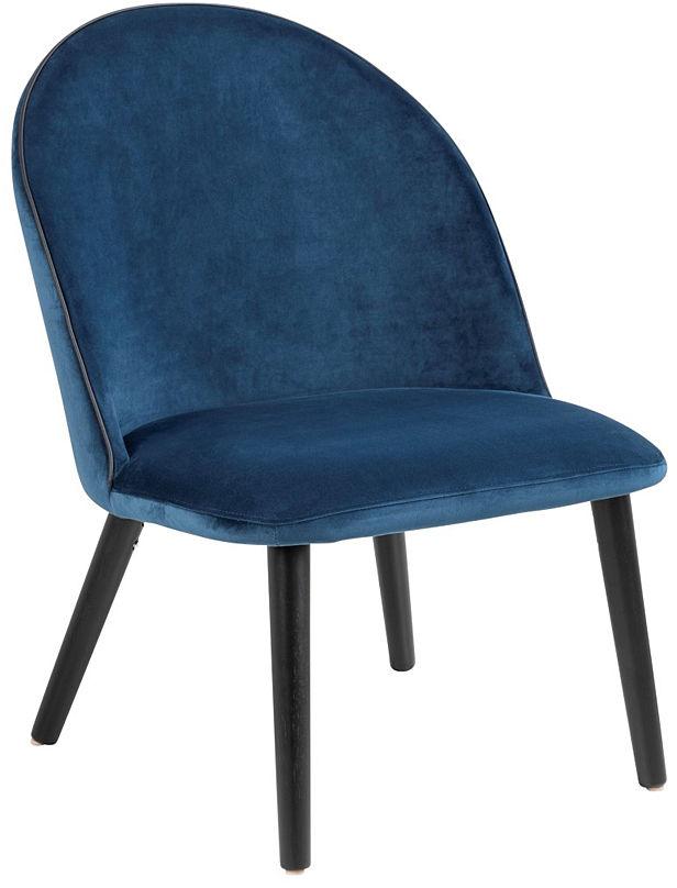 Tapicerowany welurowy fotel Milmo - niebieski