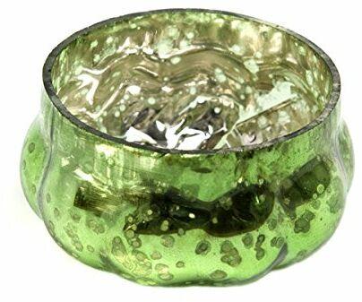 Insideretail Ślubne świeczniki na świecenia: Antyczna dynia Szkło rtęciowe wotywy - zielony - 5 cm x 5 cm, zestaw 24, zielony, 5 x 5 x 5 cm