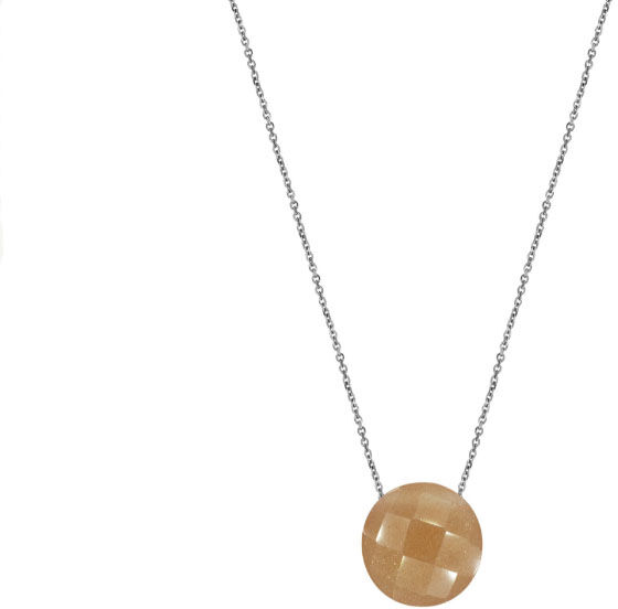 Srebrny naszyjnik 925 okrągły kamień księżycowy