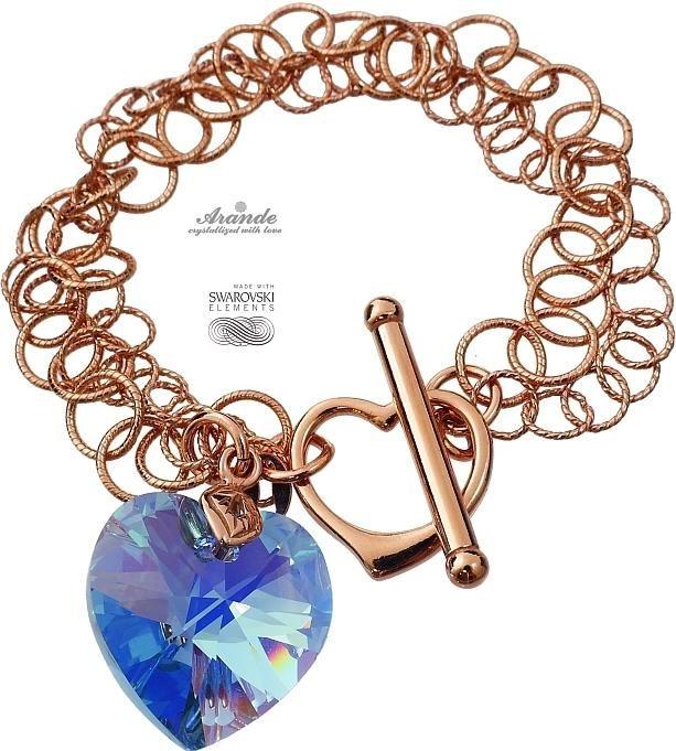 Kryształy bransoletka SERCE RÓŻOWE ZŁOTO SREBRO
