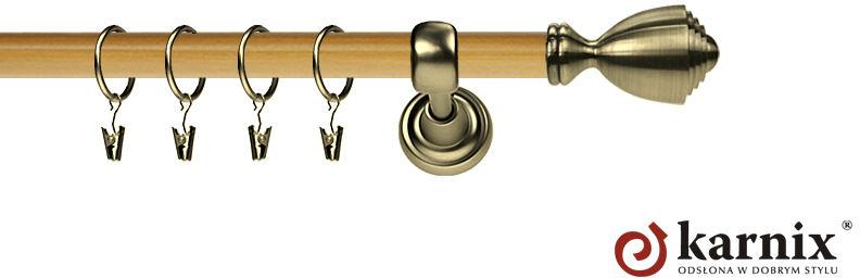 Karnisz Metalowy Prestige pojedynczy 25mm Avanti Antyk mosiądz - pinia