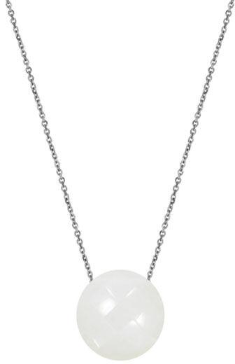 Srebrny naszyjnik 925 biały kamień księżycowy