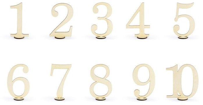 Drewniane numery na stół 10,5cm 10 sztuk KPZ3-100