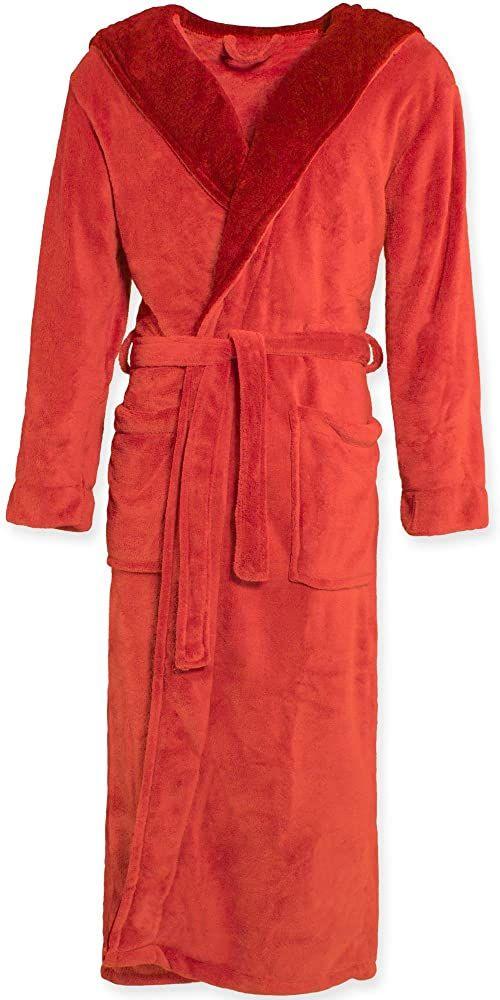 CelinaTex Texas szlafrok kąpielowy z kapturem XL czerwony bordowy mikrofibra damski męski szlafrok poranny Coral Fleece płaszcz