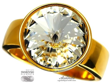 SWAROVSKI piękny pierścionek CRYSTAL PARIS GOLD ZŁOTE SREBRO