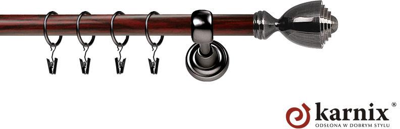 Karnisz Metalowy Prestige pojedynczy 25mm Avanti Antracyt - mahoń