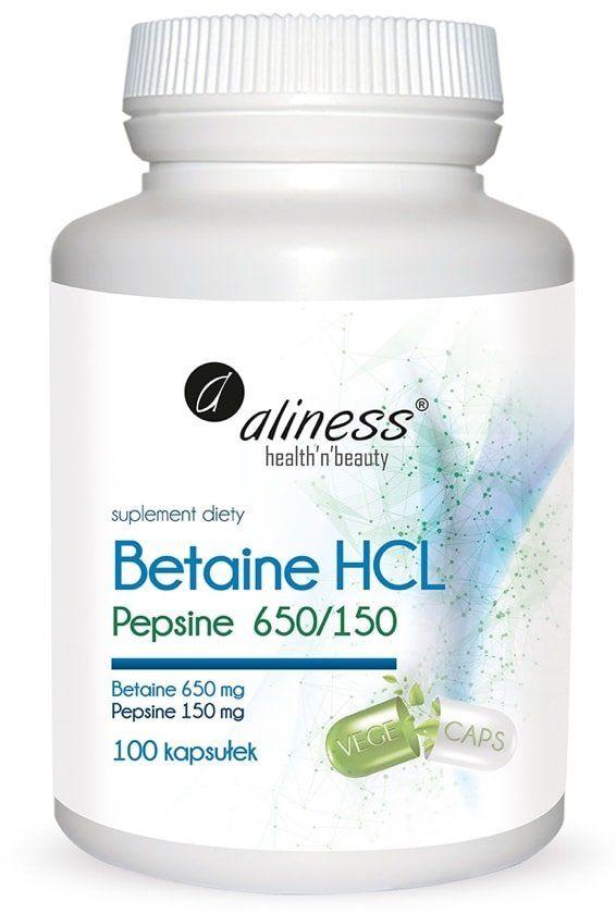 Betaina HCL + Pepsyna 650 / 150 mg Trawienie (100 kaps) Aliness