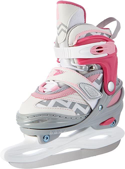Nijdam Dziewczęce łyżwy do jazdy figurowej na lodzie, regulowane, półmiękkie, biały/różowy/szary, 34-37