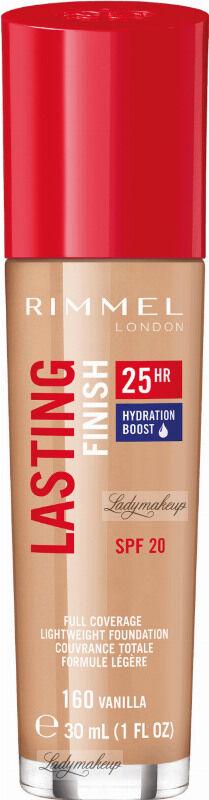 RIMMEL - LASTING FINISH 25HR - Podkład długotrwały z efektem nawilżenia - 30 ml - 160 - VANILLA