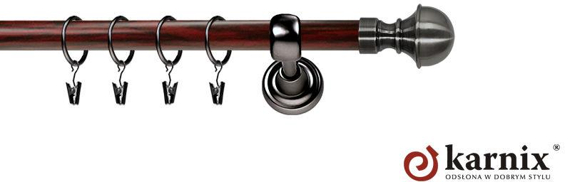 Karnisz Metalowy Prestige pojedynczy 25mm Bella Antracyt - mahoń