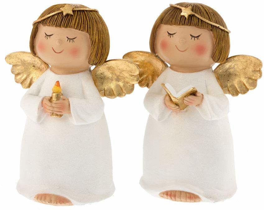 Opakowanie 2 aniołki żywica z koroną b.co/złoto 11 x 15 cm