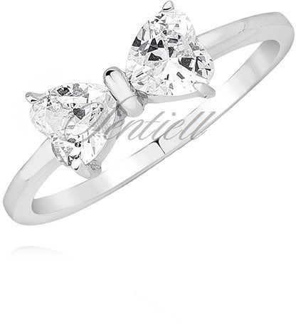 Srebrny pierścionek pr.925 kokardka z białą cyrkonią - biała