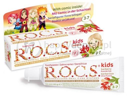 R.O.C.S. KIDS BARBERRY 35ml - pasta do zębów bez fluoru dla dzieci od 3 do 7 lat