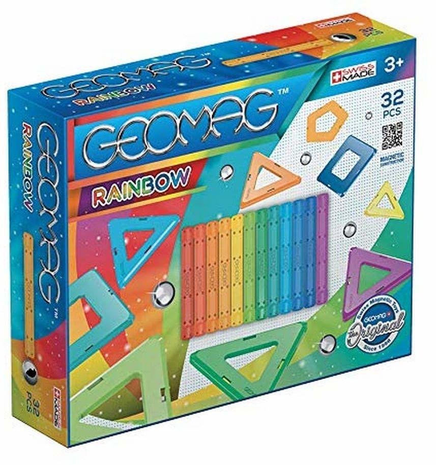 Magnetyczna zabawka konstrukcyjna Geomag Rainbow, wielokolorowa, 32 sztuki