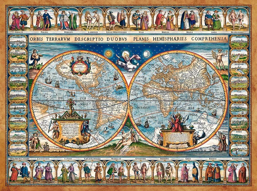 Castorland CSC200733 Puzzle 2000 Mapa Świata, Wielokolorowy, 2000 Elementów