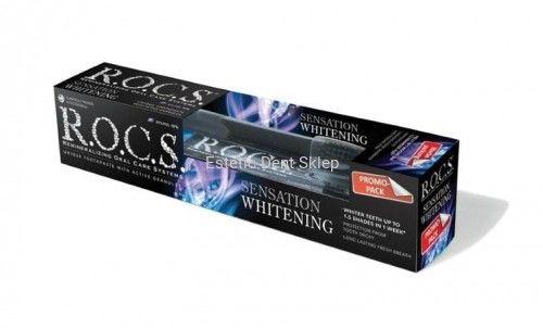 R.O.C.S. Whitening Sensation, wybielająca pasta do zębów, 60 ml + szczoteczka do zębów Black Edition