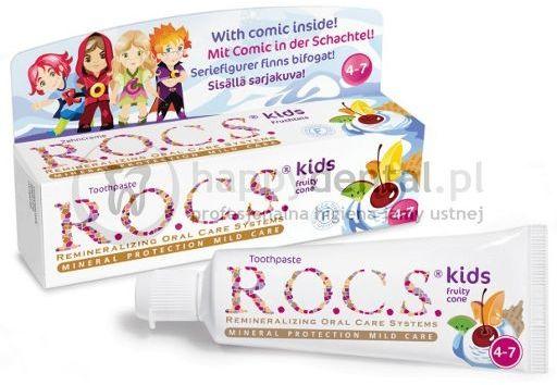 R.O.C.S. KIDS Fruity-CONE 35ml - pasta do zębów bez fluoru dla dzieci od 3 do 7 lat