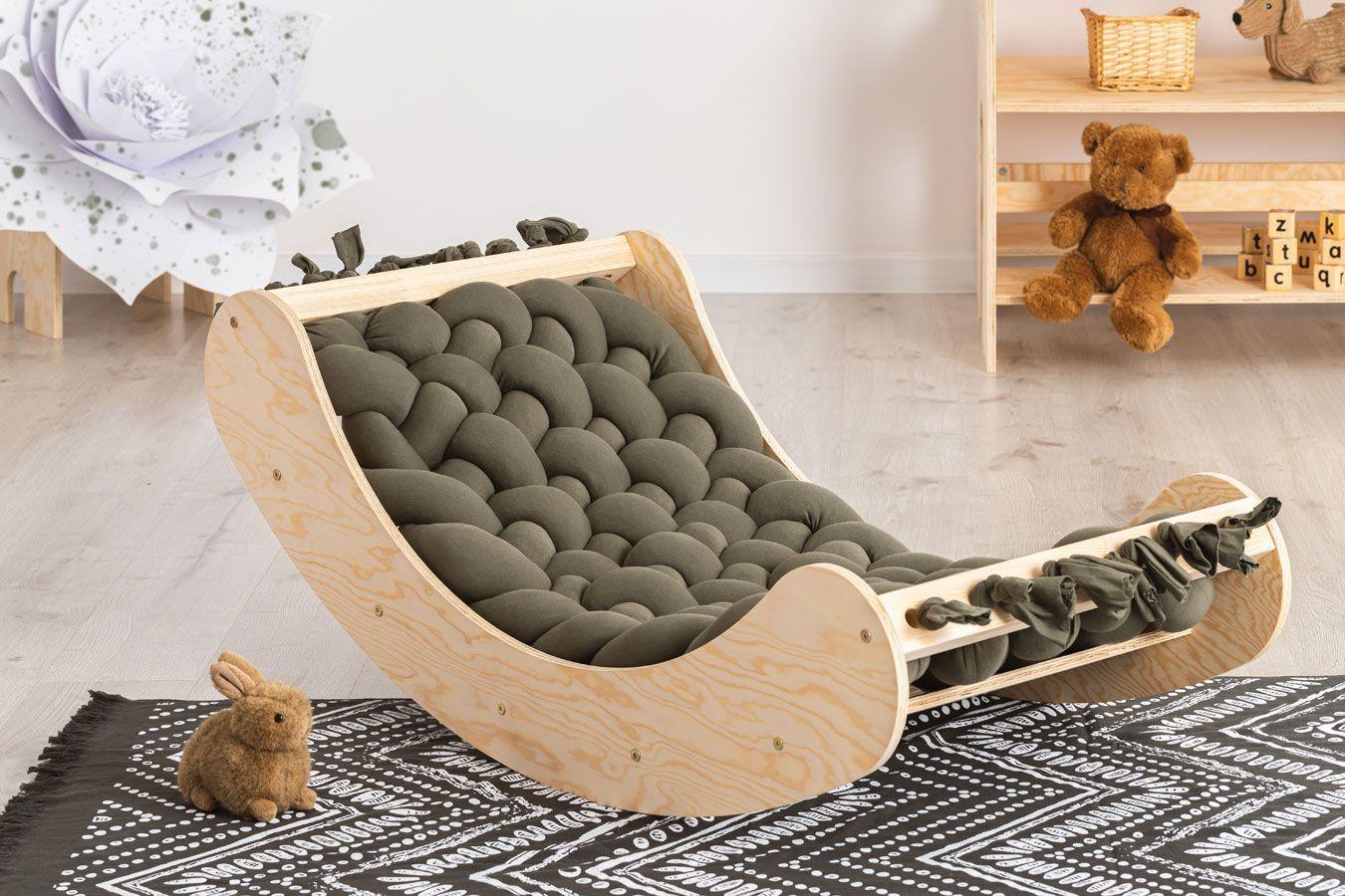 Ciemnozielona drewniana kołyska dziecięca - Tulis
