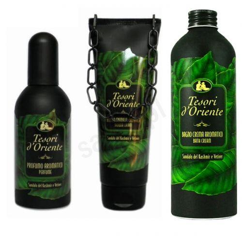 Zestaw Tesori d''Oriente Sandalo del Kashmir e Vetiver - żel pod prysznic, płyn do kąpieli, perfumy