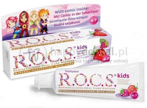 R.O.C.S. KIDS Raspberry-Strawberry 35ml - pasta do zębów dla dzieci od 4 do 7 lat o smaku truskawki i maliny
