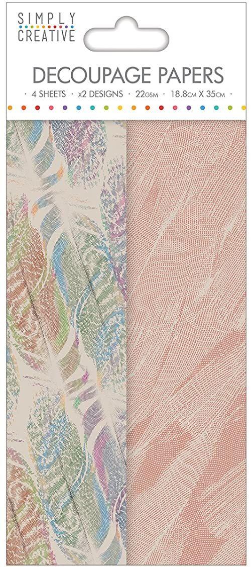 Trimcraft Simply kreatywny papier do decoupage 18,8 cm x 35 cm wiele piór, akryl, wielokolorowy, 4,07 x 8,09 x 0,1 cm