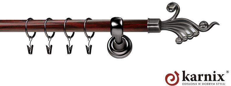 Karnisz Metalowy Prestige pojedynczy 25mm Fantazja Antracyt - mahoń