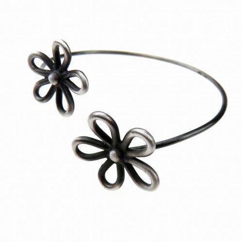 Ażurowe kwiatki bransoletka srebrna