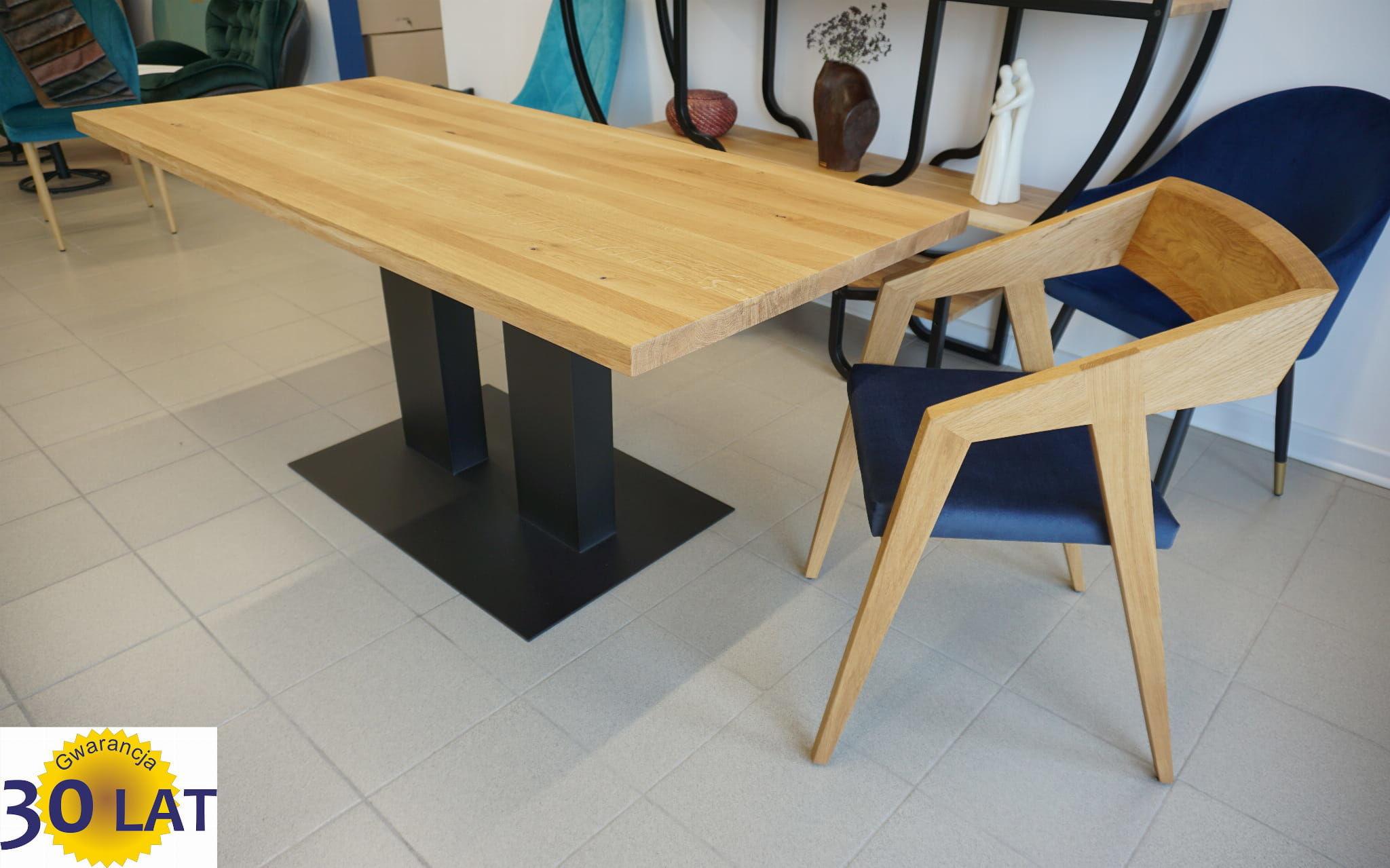 Stół dębowy lite drewno STEELO Industrial Loft nogi stalowe