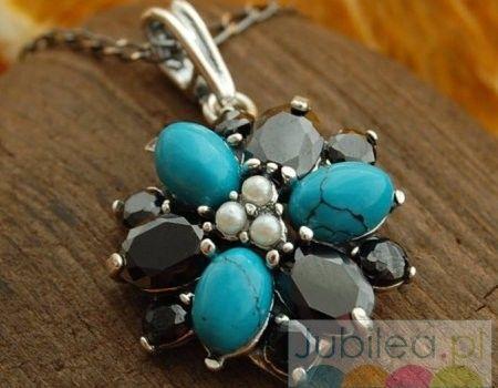 Irydium - srebrny wisiorek perły, turkusy i onyksy