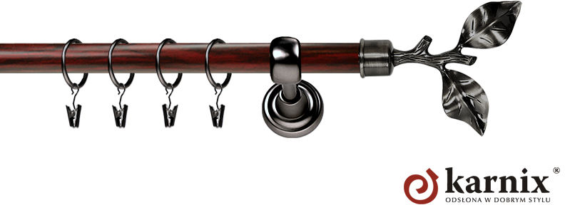 Karnisz Metalowy Prestige pojedynczy 25mm Gałązka Antracyt - mahoń