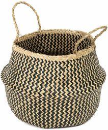 COMPACTOR RAN8409 kosz do przechowywania z ręcznie plecionej trawy morskiej, składany, z uchwytami, ciemne drewno, Ø 35 x 32 cm