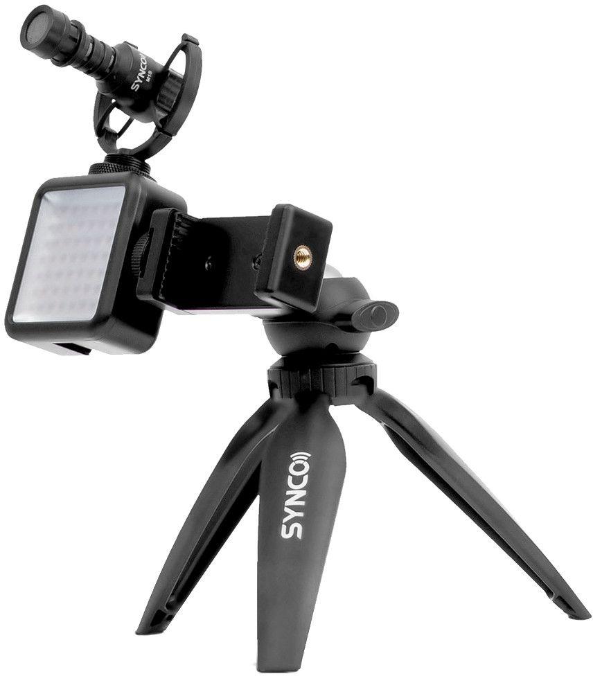 Zestaw mikrofon M1S, lampa LED, uchwyt MOBILE, statyw - Synco Vlogger Kit 2