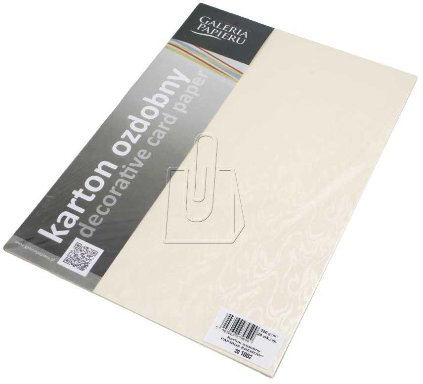 Papier ozdobny ARGO A4 220g Papirus Kremowy 20 Arkuszy /201002/