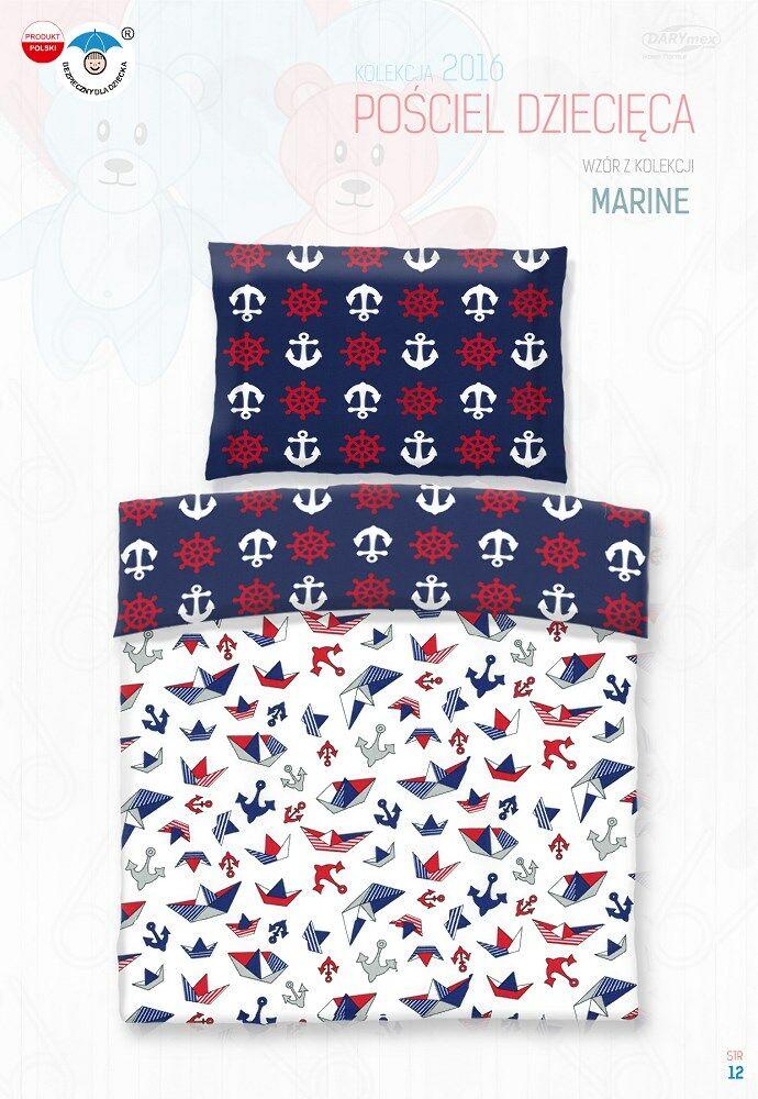Pościel bawełniana 90x120 Marinero marynarska kotwice do łóżeczka